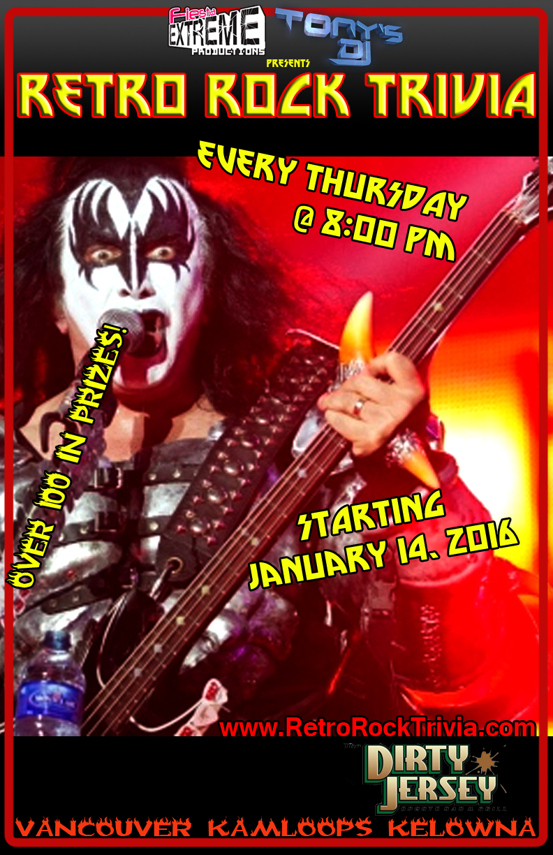 Live Retro Rock Trivia at the Dirty Jersey in Kamloops